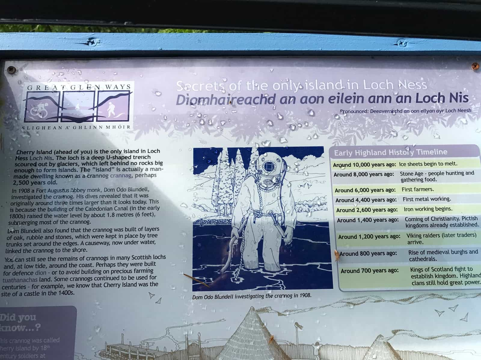 Explanation of crannogs, walking The Great Glen Way