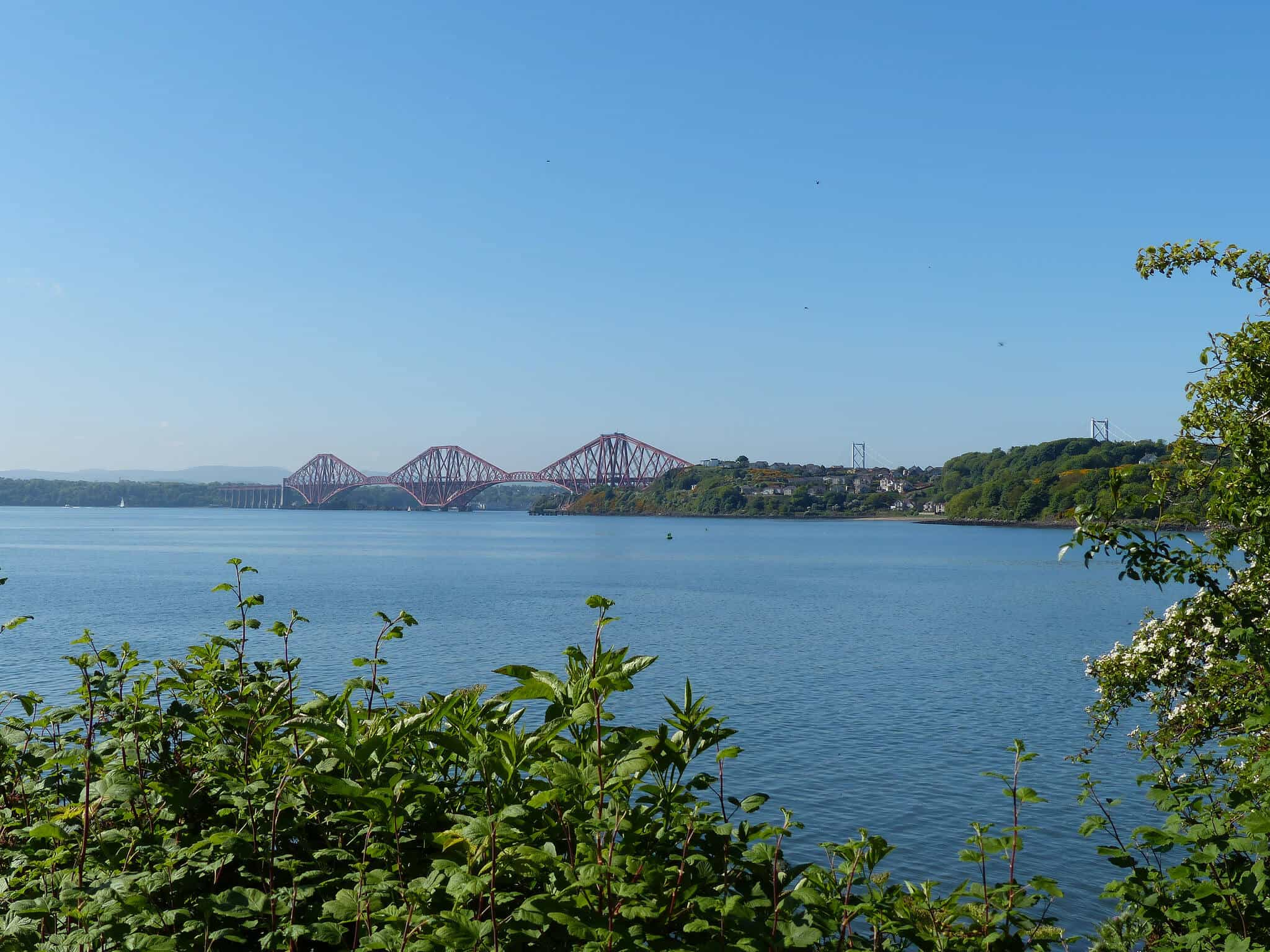 View over to Forth Bridge on Fife Coast Path