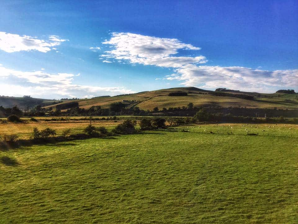 Cheviot hills over the borders