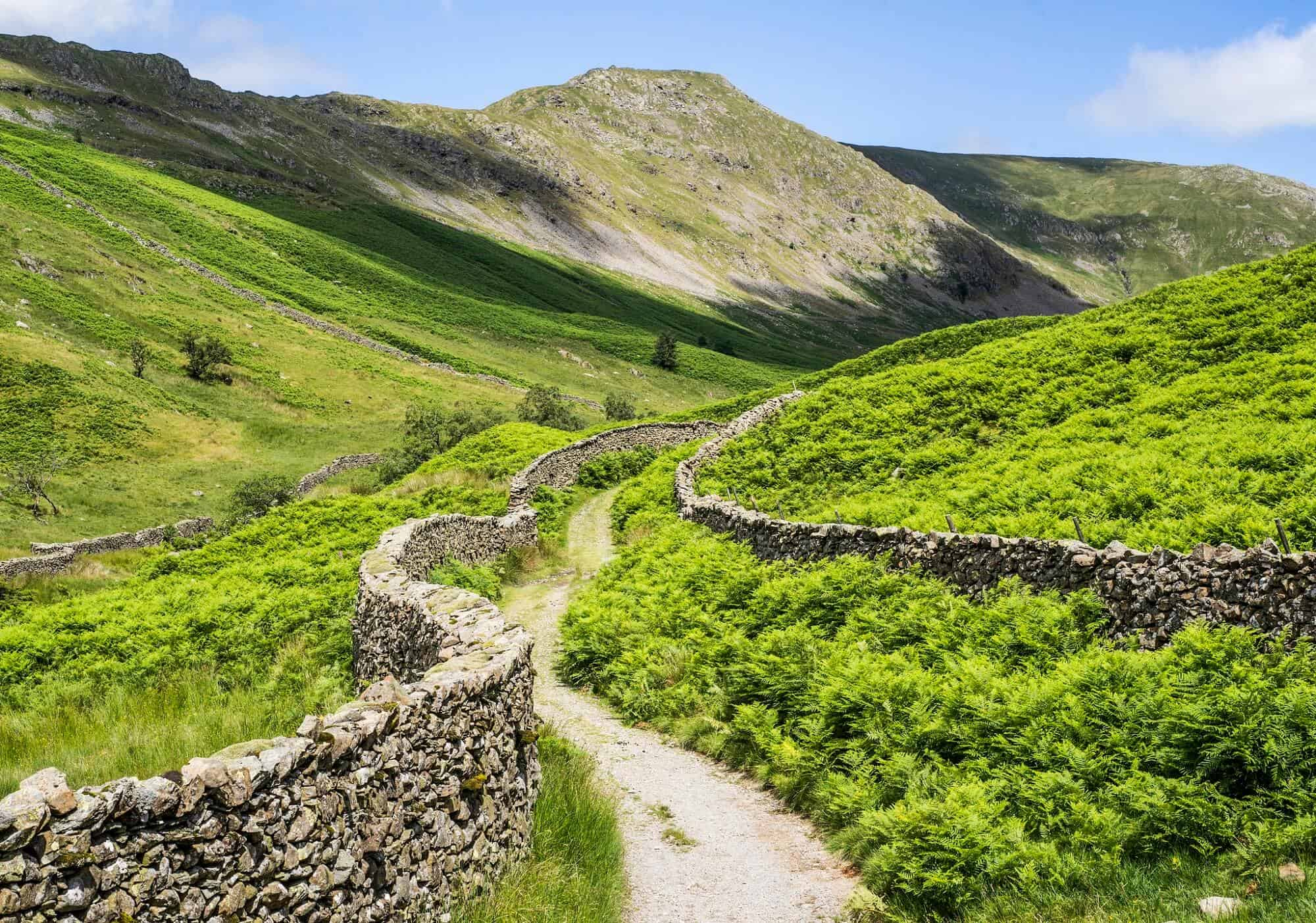 Rural paths leading through Lakeland in Yorkshire, England