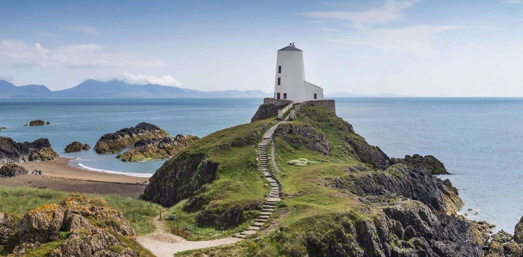 Walking path up to the Tŵr Mawr lighthouse on Llanddwyn Island Anglesey coast path