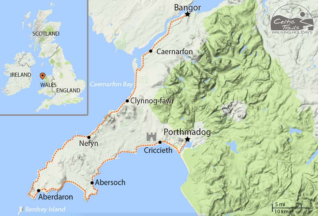 Map of our Llŷn Coastal Path Walking Holiday route