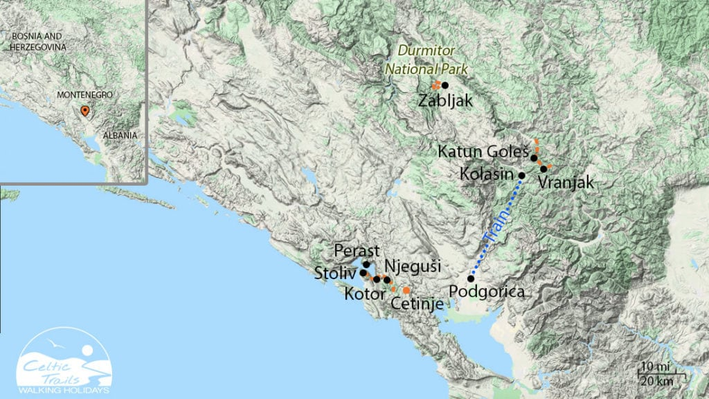 Map of our Montenegro Walking Holiday