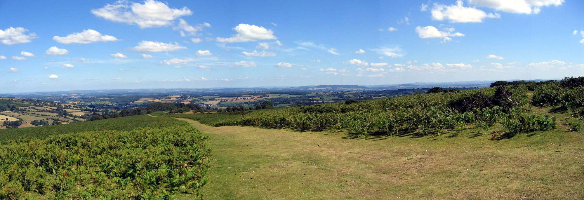 Panoramic shot of the mountain scenery on the Offa's Dyke Path