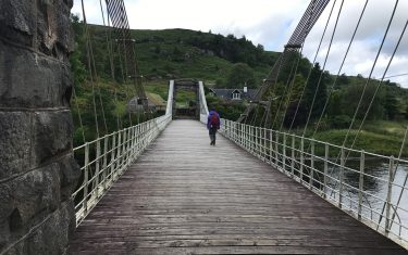 Old suspension bridge Invergarry to Fort Augustus, Hiking holidays in Scotland