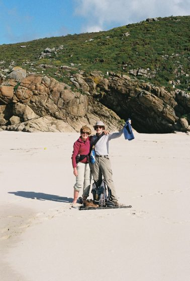 Olivia Pittet and her husband Michael Crowley on the beach at Finisterre
