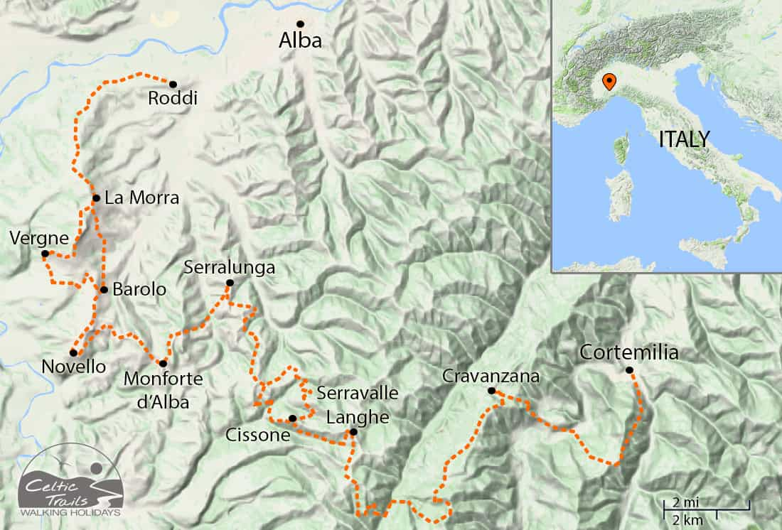 Our map of walking routes in Piedmont
