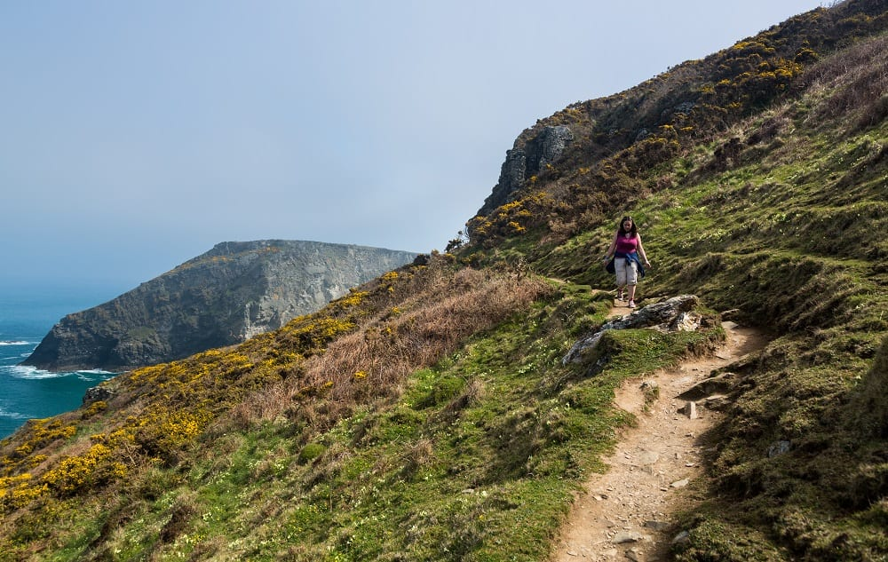 Female hiker walks the South West Coast Path along cliffs and headlands near Tintagel Cornwall England UK