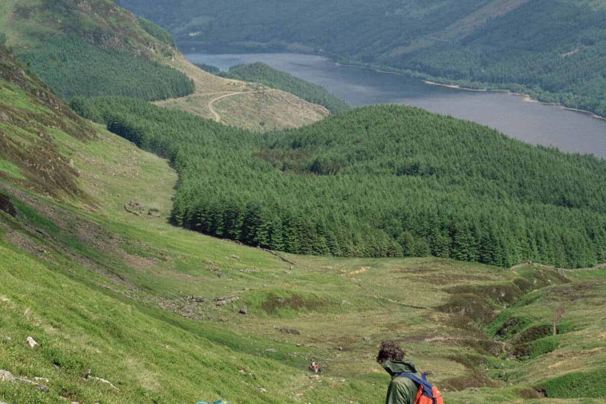 Two walkers on the path up Ben Ledi near Callander, Stirling District