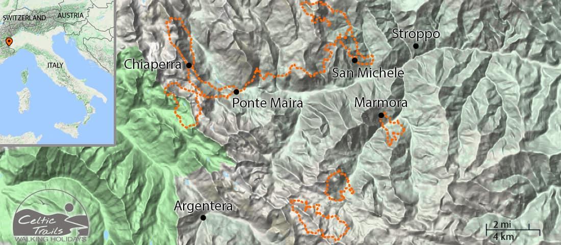 Val Maira walking holiday map