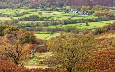 View of a village in Autumn in the Lake District