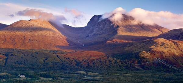 View towards Ben Nevis and Inverlochy Castle, The Highlands