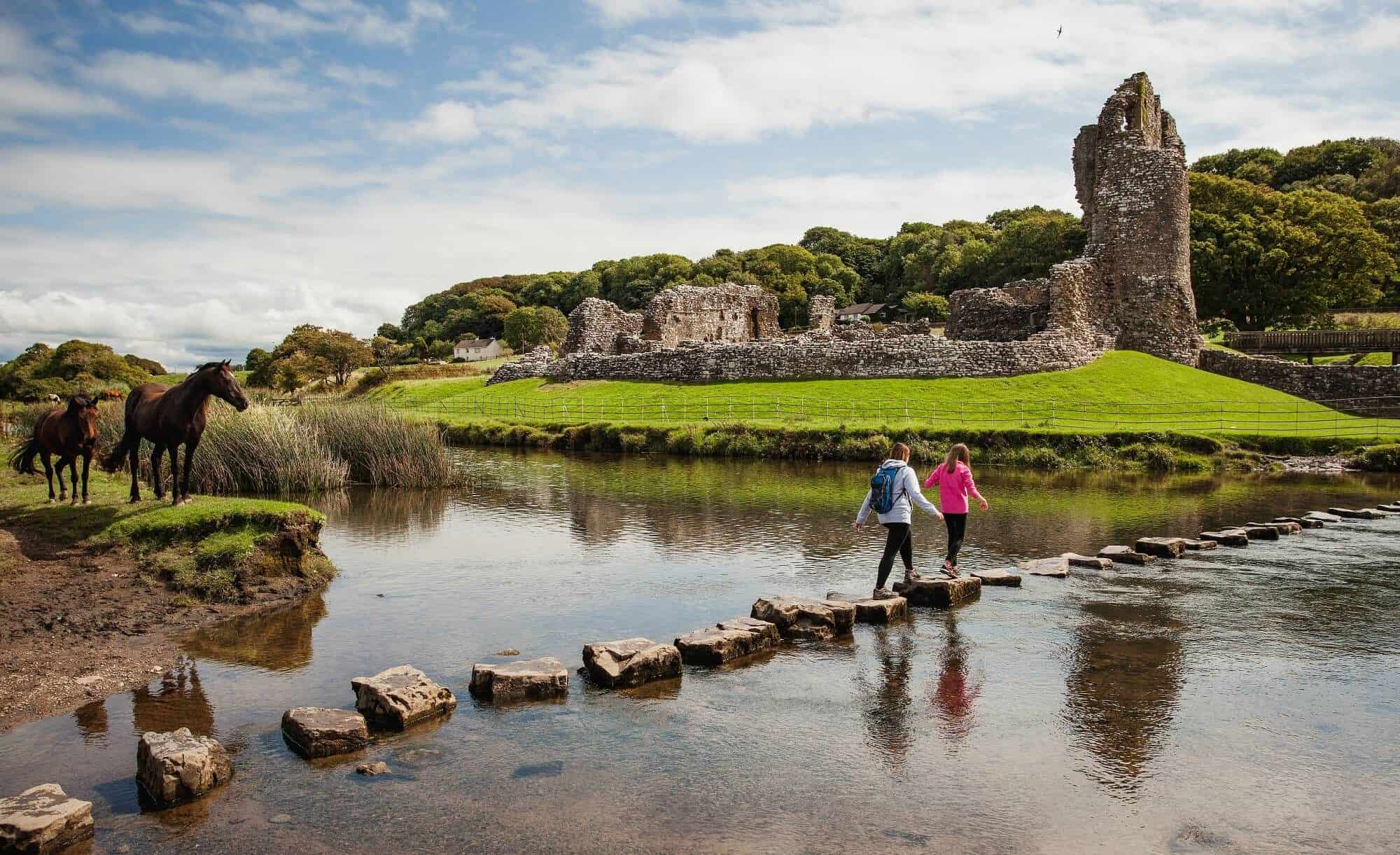 Walkers at Ogmore Castle