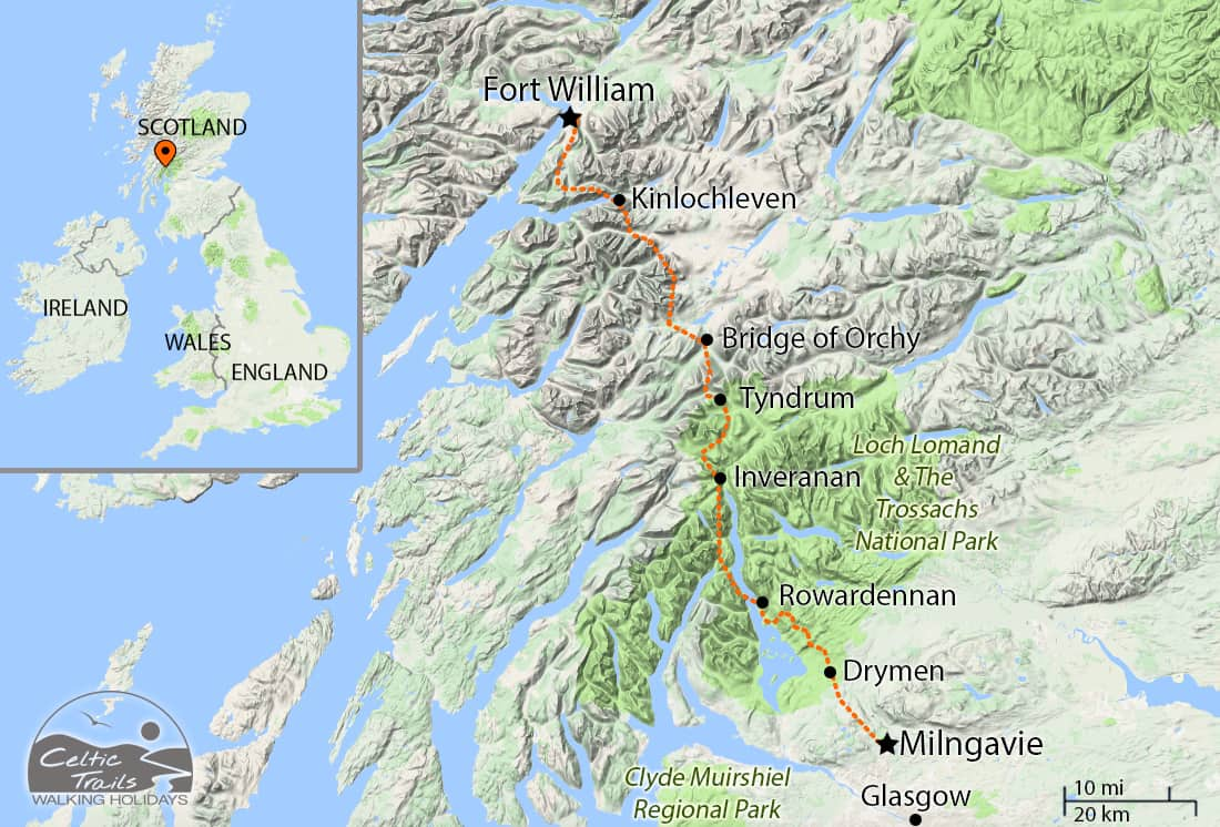 Walking holiday map of the the West Highland Way