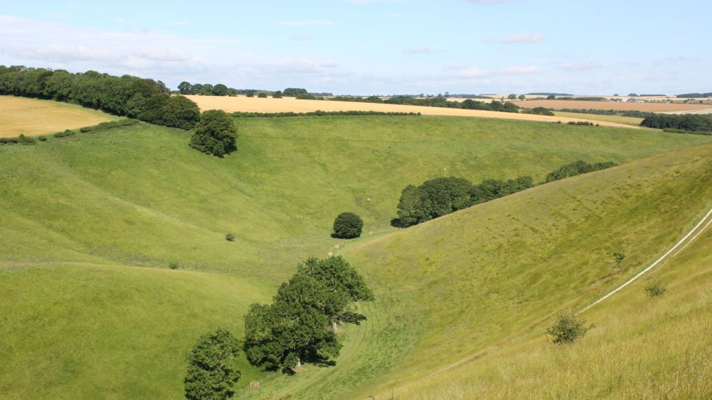 View of hills on the Yorkshire Wolds Way